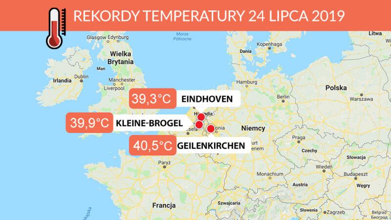 Europejskie rekordy temperatury z 24 lipca 2019 roku (tvnmeteo.pl/Google Maps)