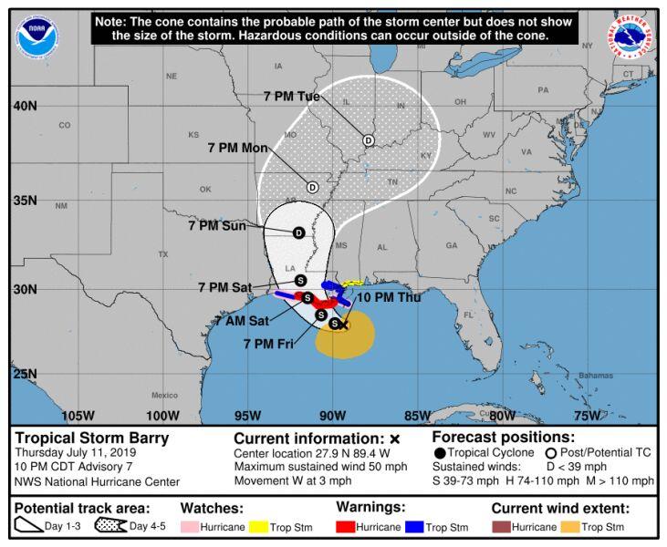 Prognozowana trasa przejścia cyklonu Barry (NHC)