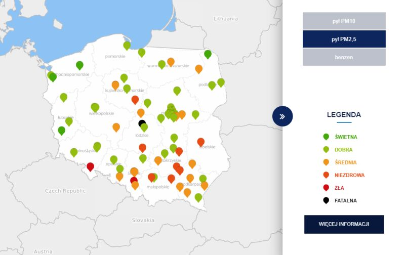 Stężenie pyłu PM10 o godzinie 11 (tvnmeteo.pl za GIOŚ)