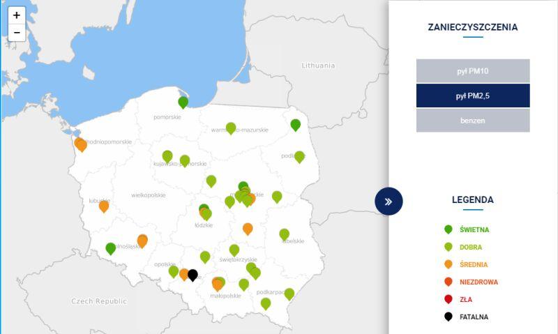 Stężenie pyłu PM2,5 w Polsce po godz. 15